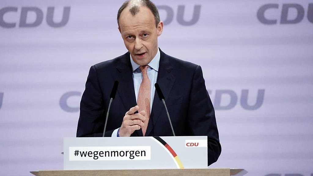 Der frühere Vorsitzende der Unionsfraktion und Kandidat um den Parteivorsitz, Friedrich Merz, spricht beim digitalen Bundesparteitag der CDU. Foto: Michael Kappeler/dpa
