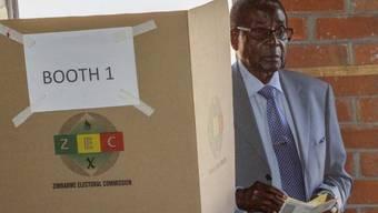Mugabe bei seiner Stimmabgabe gestern in Harare.