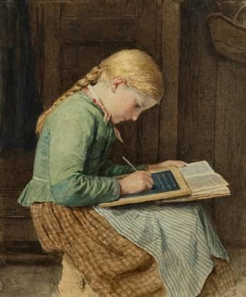 Zum Schulanfang: «Schreibendes Mädchen» von Albert Anker.