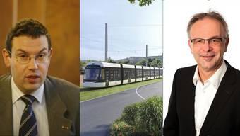 Lorenz Habicher (Zürich) und Pierre Dalcher (Schlieren) sprechen zur Limmattalbahn. Habicher dagegen. Dalcher dafür.