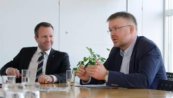 Der SVP-Präsident Jeker (links) gibt sich entspannt: Die FDP muss die Forderungen der SVP erfüllen um sich sicher zu sein, den zweiten Regierungsrat zu bekommen.