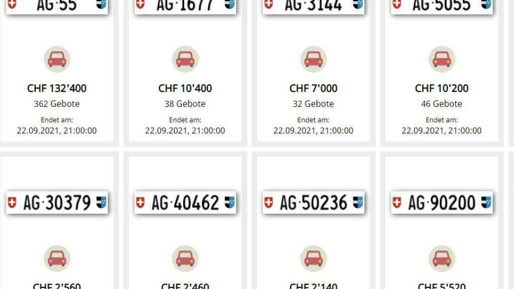 Das Geschäft läuft rund: Eine Million Franken pro Jahr nimmt der Kanton Aargau mit der Versteigerung von begehrten Kontrollschildern ein.