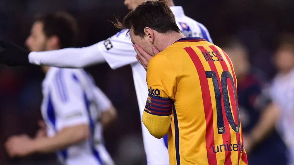 Lionel Messi verzweifelte an der Abwehr von Real Sociedad San Sebastian