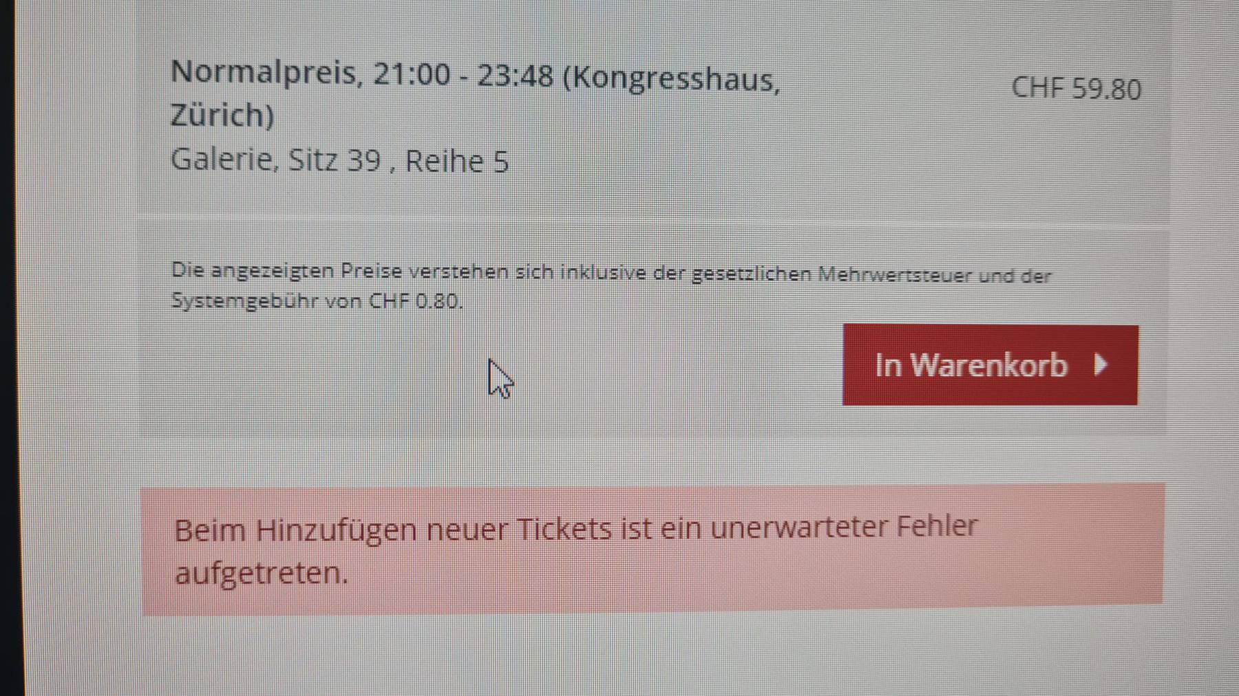 Das Ticket-System vom ZFF war down