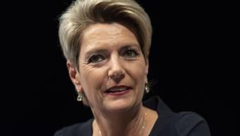 «Es wäre mir eine grosse Ehre und Freude, mich in dieser verantwortungsvollen Position für unser Land einzusetzen», sagte FDP-Ständerätin Karin Keller-Sutter bei ihrer Medienkonferenz in Wil/SG.