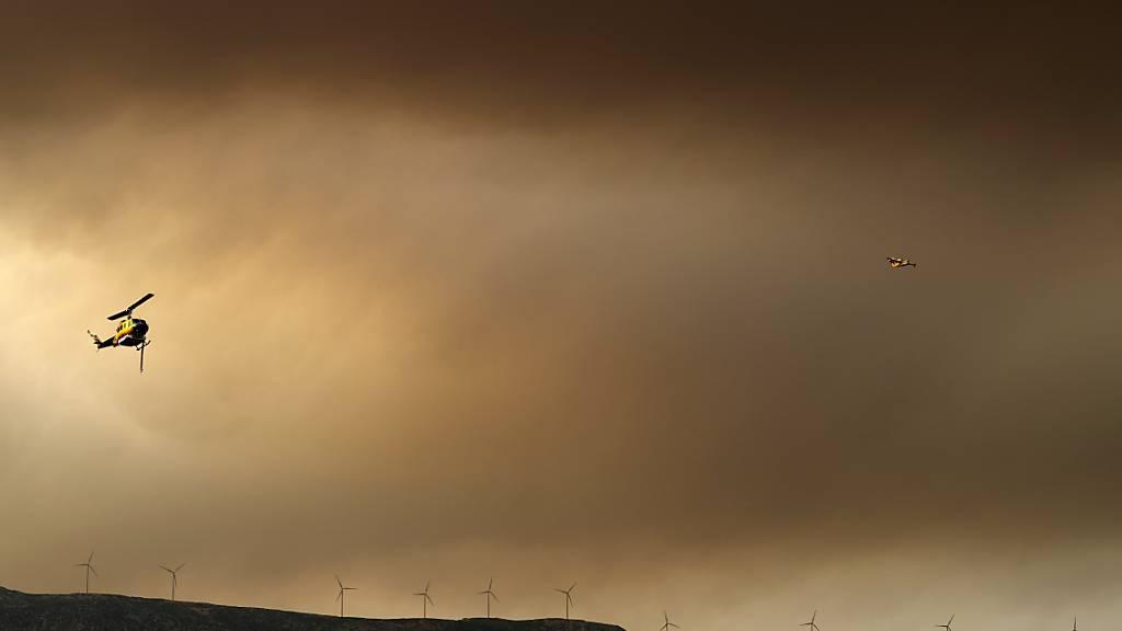 Ein Flugzeug und Hubschrauber unterstützen die Löscharbeiten in der Region Vilia aus der Luft. Nach tagelangen Kämpfen gegen die Flammen haben Feuerwehrwehrleute einen großen Waldbrand im Westen Athens teils unter Kontrolle gebracht. Das teilte ein Sprecher des Gouverneurs der Region mit. Foto: Thanassis Stavrakis/AP/dpa