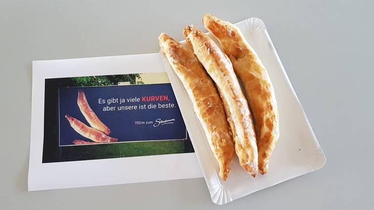 Für die Nussgipfel der Bäckerei gibts extra einen Werbespruch