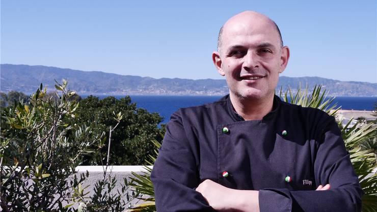 Anti-Mafia-Koch Filippo Cogliandro auf der Dachterrasse seines Restaurants.
