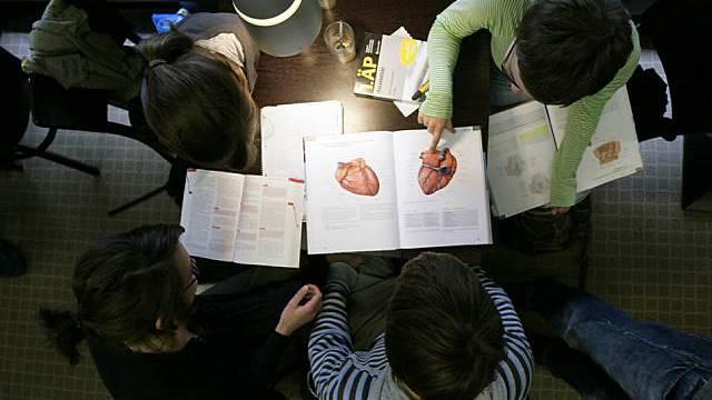 Medizinstudenten arbeiten in einer Bibliothek (Symbolbild, Archiv)