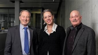 Maximilian Reimann, Barbara Buhofer und Robert P. Hilty (von links) sind drei der Kandidierenden auf der Aargauer Seniorenliste.