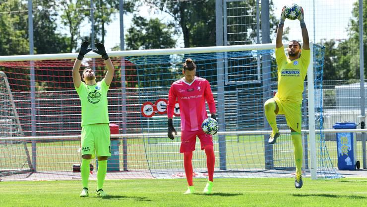 Marco Schmid, Steven Oberle und Emre Sahin (v.l.n.r.) sind bereit für die Profis der Super League.