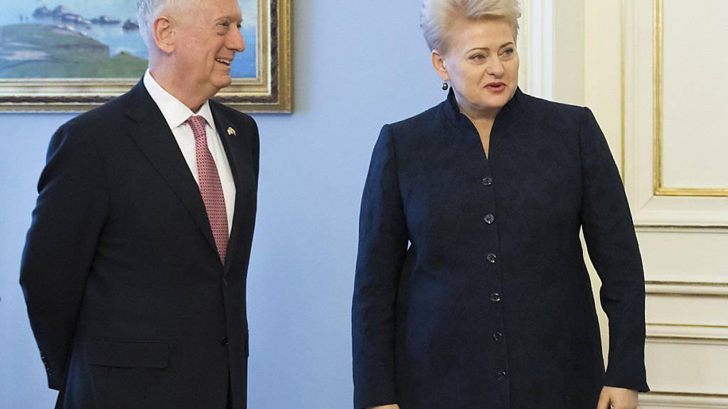 US-Verteidigungsminister James Mattis mit der litauischen Präsidentin Dalia Grybauskaite.