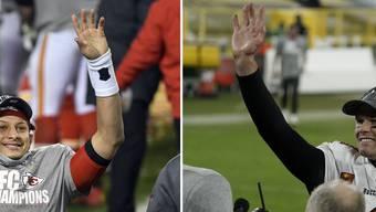 Jubeln über ihre Finaleinzüge: Patrick Mahomes (links) und Tom Brady (rechts).