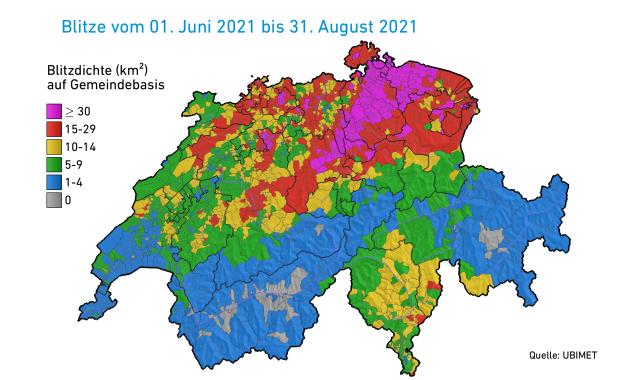 Diese Grafik zeigt, wie oft sich in deiner Gemeinde Blitze entluden.