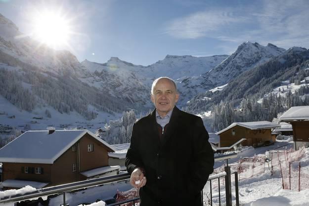 Bundespräsident Ueli Maurer eröffnet den Gripen-Abstimmungskampf in Adelboden.