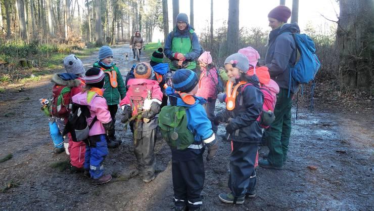 Der Natur- und Bewegungskindergarten versammelt sich täglich im Wald. Hier wird unterrichtet, gekocht und gespielt.