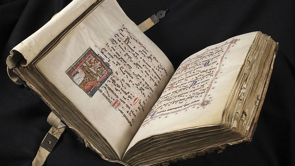 Das Gesangsbuch des Dominikanerklosters St. Katharinental (um 1312) ist Teil der Ausstellung «Glanzlichter der Gottfried Keller-Stiftung» im Landesmuseum in Zürich. Sie dauert vom 14. Februar bis 22. April 2019.