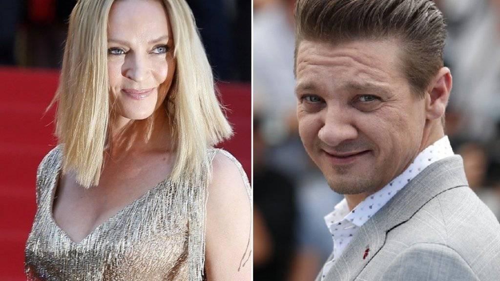 Uma Thurman und Jeremy Renner werden am Filmfestival von Karlsbad ausgezeichnet. (Archivbilder)