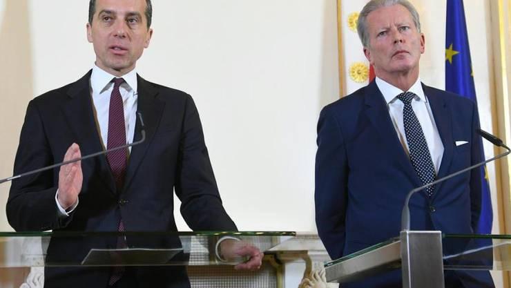 Bundeskanzler Christian Kern (l.) und Vizekanzler Reinhold Mitterlehner am Montag in Wien.