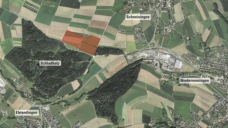 Eine Oberflächenanlage ist für das Gebiet Schlad in Schneisingen vorgeschlagen (rot markiert). Google Earth