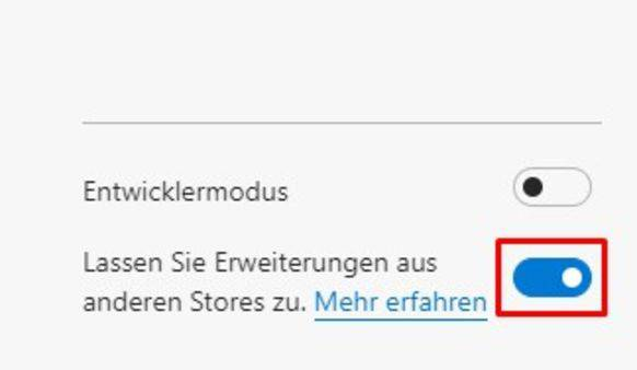 In den Einstellungen muss diese Option aktiviert werden, damit sich Chrome-Erweiterungen installieren lassen.