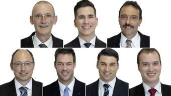 Von oben links: Roland Härri, Rainer Kunz, Alex Reimann, Christian Rüede, Christoph Riner, Emanuel Suter und Markus Liebi.