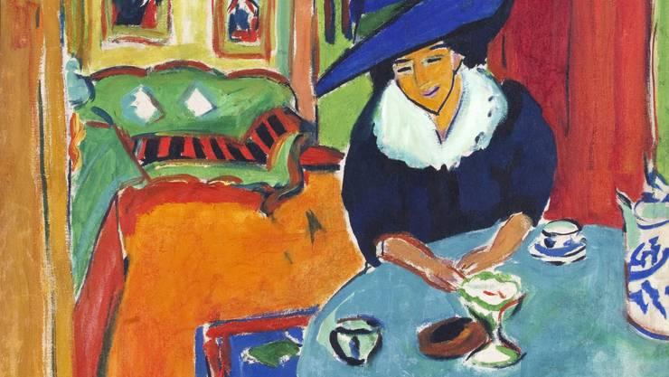Ernst Ludwig Kirchner. «Dodo am Tisch» von 1909. Die Farben zeigen den französischen Einfluss.