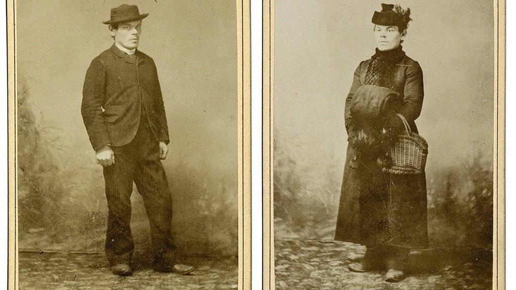 Exponate aus der Luzerner Ausstellung «Tatort»: Der 1892 hingerichtete Mörder Ferdinand Gatti, rechts als Frau verkleidet. (Pressebild)