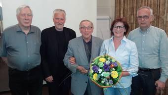 Zusammen über 200 Jahre in der SP: Die Geehrten Ruedi Wiedmer, Peter Gomm, Ruedi Bachmann, Evelyne Ackermann, Clemens Ackermann.