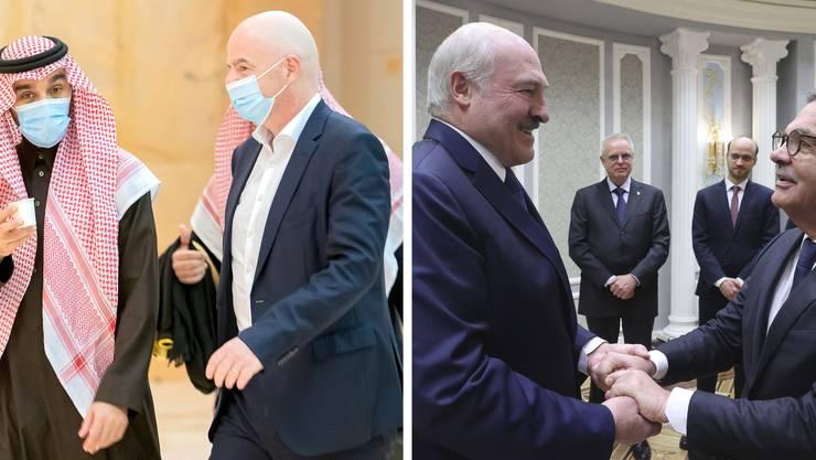 Gianni Infantino in Saudi-Arabien (links), Alexander Lukaschenko und René Fasel (ganz rechts) geben sich die Hände.