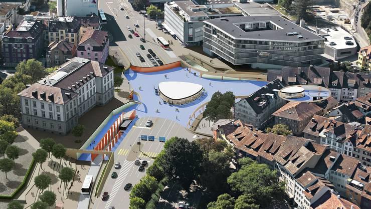 Ab Herbst 2017 soll der Verkehr über den Badener Schulhausplatz auf verschiedenen Ebenen rollen. zvg