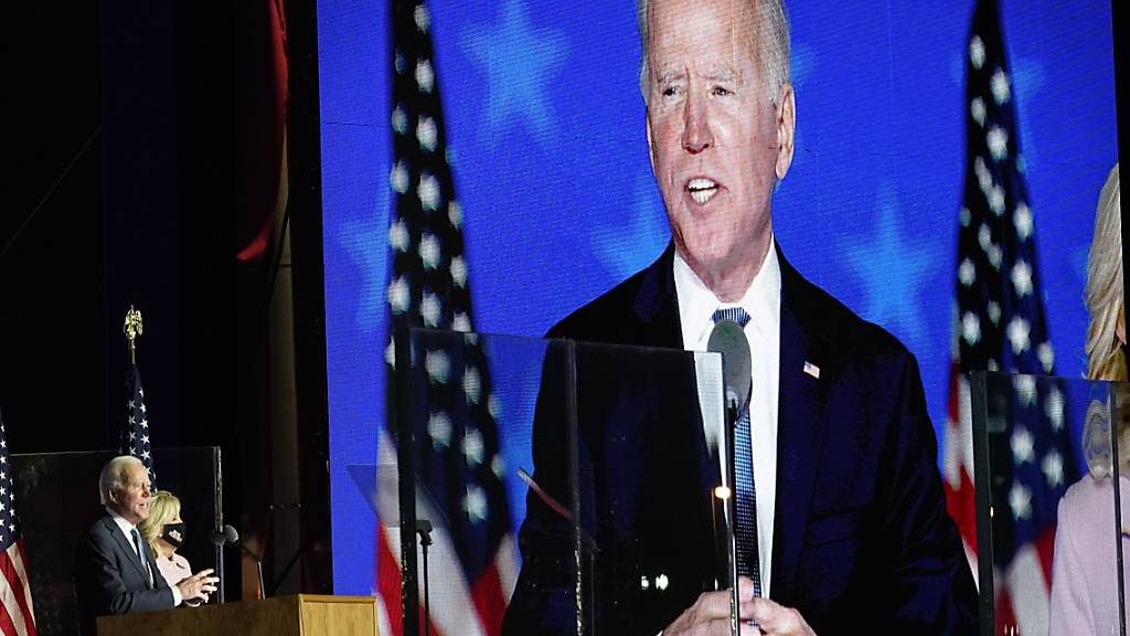Joe Biden spricht zu seinen Anhängern in Wilmington. Foto: Andrew Harnik/AP/dpa