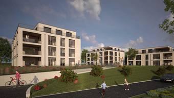 Mit 18 Monaten Bauzeit rechnet Architekt René Hüsser für die Überbauung mit 22 Wohnungen am Dörrmattweg in Frick. In zwei Wochen beginnen die Bauarbeiten. (Visualisierung)