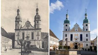 Alle 30 Jahre ist eine millionenteure Sanierung fällig, damit der Arlesheimer Dom auch noch möglichst lange weiter strahlt. Das Bauwerk hat sich nicht verändert seit der Aufnahme links – sehr wohl aber der Raum davor.