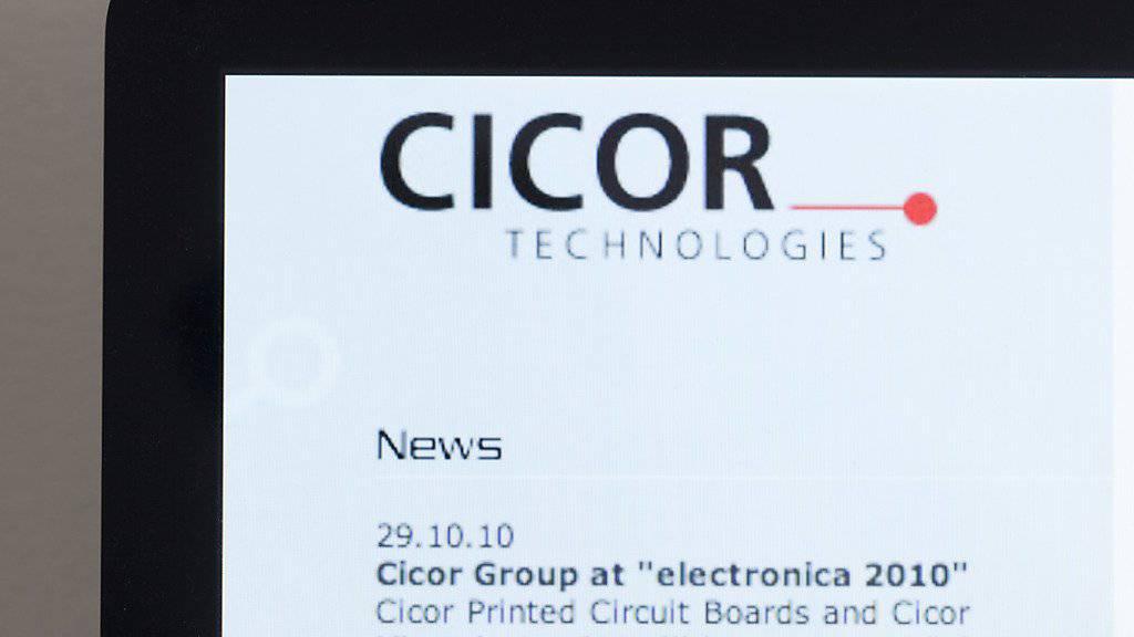 Das Logo auf der Webseite von Cicor: Das Unternehmen schreibt wegen der Umbaukosten Verlust.