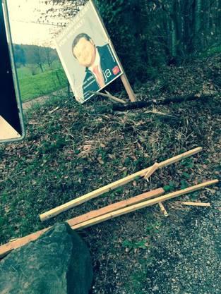 An der Regensdorferstrasse blieb das zwar das Plakat heil, doch auch hier wurde der Ständer demoliert (25. März 2014).