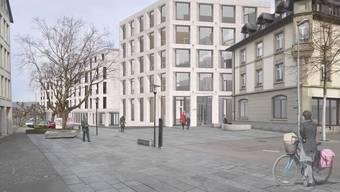 Die Visualisierung mit Blick in die Schulthess-Allee zeigt den Eingangsplatz mit der «Alten Post» im Vordergrund sowie dem dahinter anschliessenden Verwaltungsneubau.