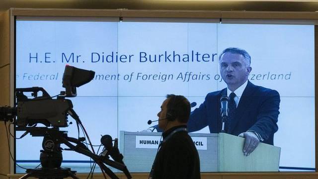 Bundesrat Didier Burkhalter während seiner Rede in Genf