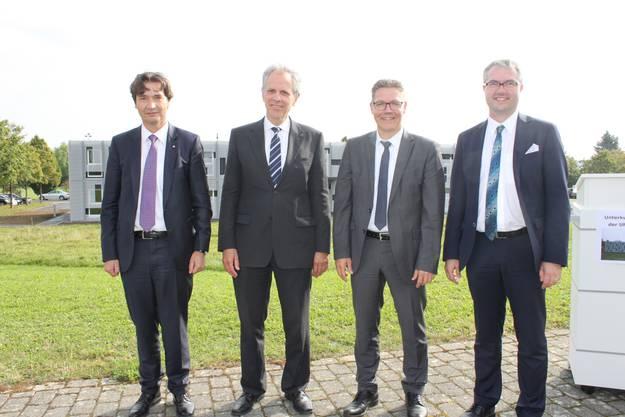 Stadtpräsident François Scheidegger, FZZ-Präsident Raoul Stampfli, Baudirektor Roland Fürst und Erziehungsdirektor remo Ankli, von links