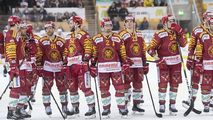 Frust bei den Langnauer Spielern nach der dritten Niederlage in Serie gegen Lausanne