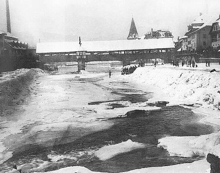 Reussgfrörni im Winter 1929: Dieser Winter war laut damaligen Zeitungsberichten der kälteste seit 150 Jahren.