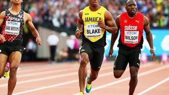 Alex Wilson hatte im 100-m-Halbfinal gegenüber Yohan Blake das Nachsehen