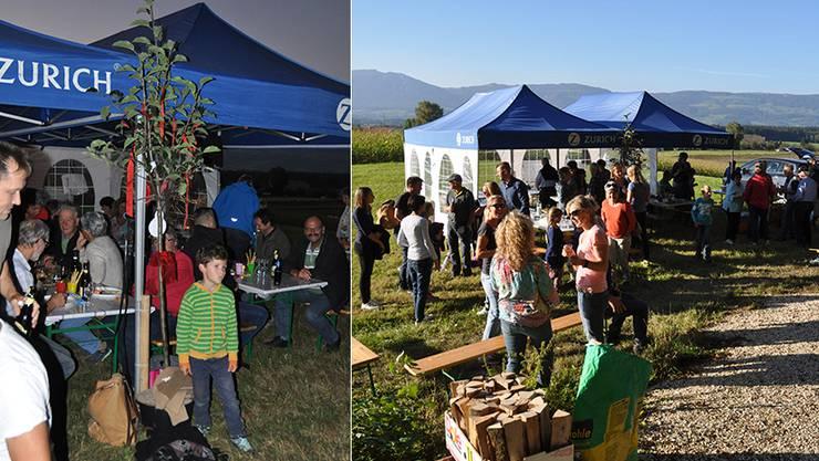 Nicolaos Kechagias erhielt am Dorf-Grillfest als 100.Einwohner Hünikens einen Apfelbaum.