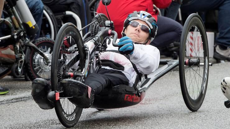 Tobias Fankhauser am Handbike-Marathon in Oensingen.