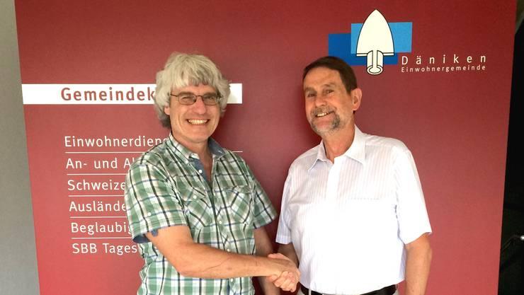 Gery Meier (links) übergab das Präsidium an Heiner Schranz.