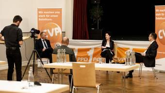 Virtuelle Präsentation (v.l.): Georg Nussbaumer, Sandra Kolly und Thomas A. Müller.