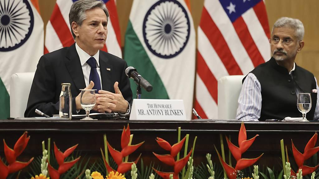 Subrahmanyam Jaishankar (r), Außenminister von Indien, und Antony Blinken, Außenminister der USA, während einer gemeinsamen Pressekonferenz. Foto: Jonathan Ernst/POOL Reuters/AP/dpa