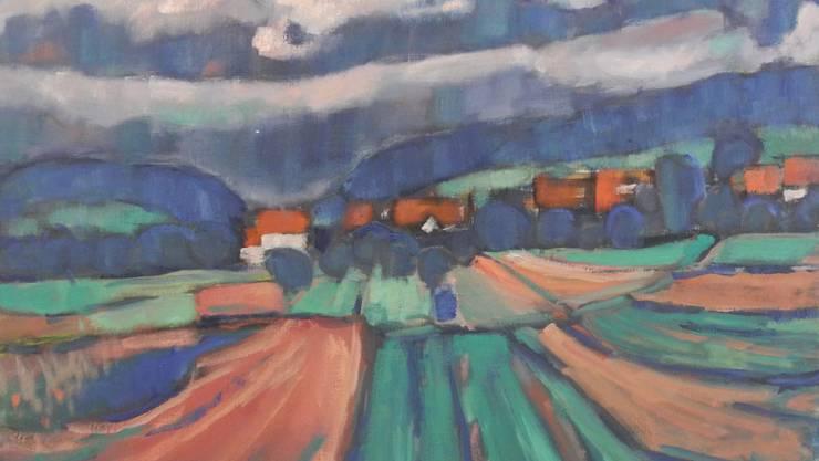 Hermann Brodhag fand auch in seiner Heimat Inspiration für seine Werke. Die Ölmalerei aus dem Jahr 1968 zeigt Uitikon Dorf vom heutigen Parkplatz des Landgasthofs Leuen aus.