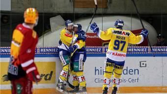 Wenigstens im Penaltyschiessen gab es für den SC Langenthal etwas zu bejubeln.  Quelle: Keystone