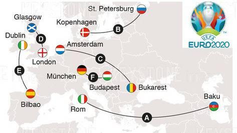 An diesen Orten finden die EM-Spiele 2020 statt.